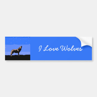 Howling Wolf in Winter Bumper Sticker