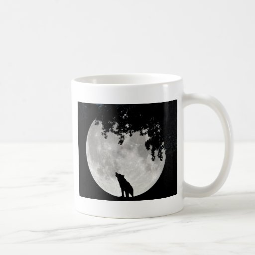 Howling Wolf Moon and Branches Coffee Mugs