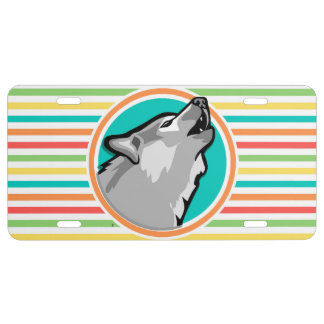 Howling Wolf on Bright Rainbow Stripes License Plate