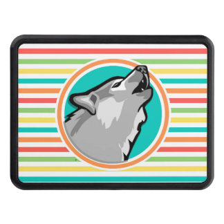 Howling Wolf on Bright Rainbow Stripes Trailer Hitch Covers