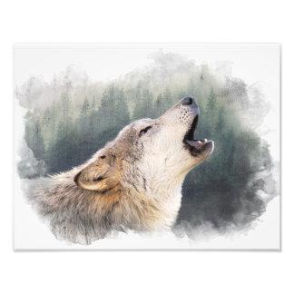 Howling wolf photo print