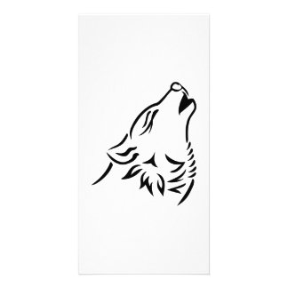 Howling wolf personalized photo card