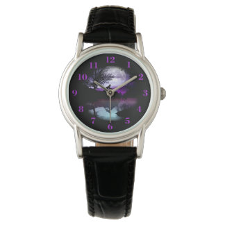 Howling Wolf Purple Gray Sky Water Scene Watch