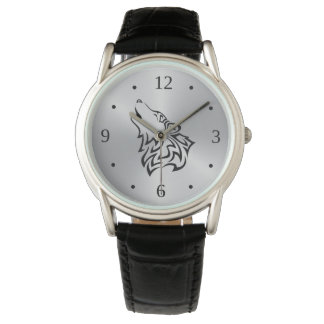 Howling Wolf Tribal Black Silver Watch