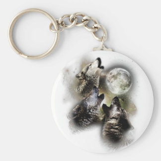 Howling Wolves Moon Key Ring