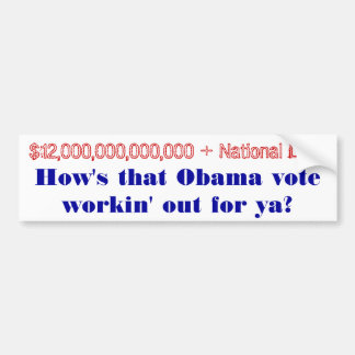 How's that Obama Vote workin' out for ya? Bumper Sticker