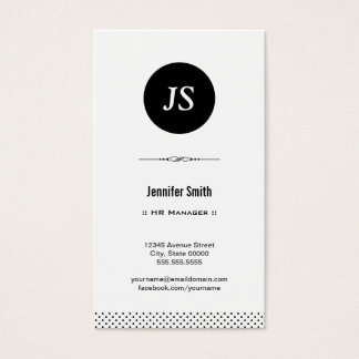 HR Manager - Clean Black White Business Card