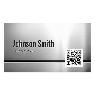 HR Manager - Stainless Steel QR Code Pack Of Standard Business Cards