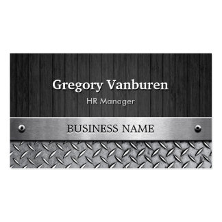 HR Manager - Wood and Metal Look Pack Of Standard Business Cards