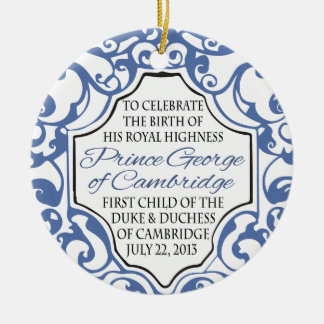 HRH Prince George Blue/White Scroll Round Ceramic Decoration