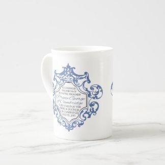 HRH Prince George Blue/White Scroll Tea Cup