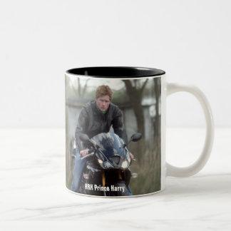 HRH Prince Harry motorbike Two-Tone Coffee Mug