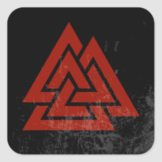 Hrungnir's Heart (red & black grunge) Square Sticker