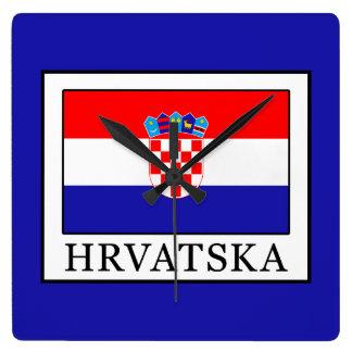Hrvatska Square Wall Clock