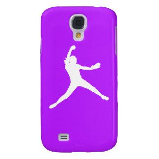 HTC Vivid Fastpitch Silhouette White/Purple Samsung Galaxy S4 Case