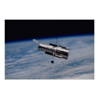 Hubble Space Telescope and Earth Poster