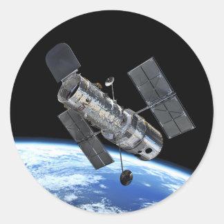 Hubble Space Telescope In Earth Orbit NASA Photo Classic Round Sticker