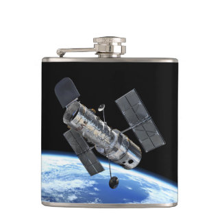 Hubble Space Telescope In Earth Orbit NASA Photo Hip Flask