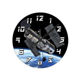 Hubble Space Telescope In Earth Orbit NASA Photo Round Clock