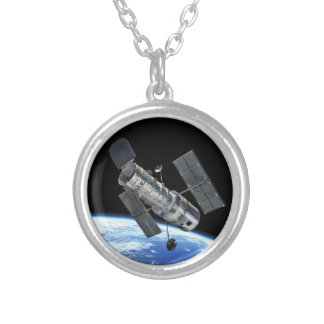 Hubble Space Telescope In Earth Orbit NASA Photo Silver Plated Necklace