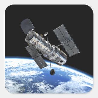 Hubble Space Telescope In Earth Orbit NASA Photo Square Sticker