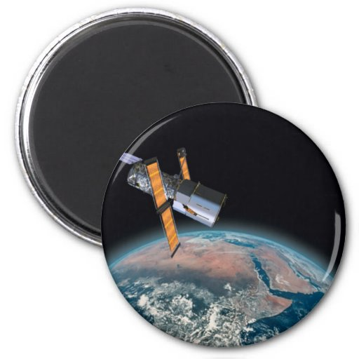 Hubble Space Telescope Round Astronomy Magnet