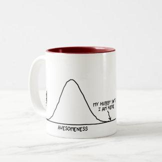 Hubby Says I'm Awesome (1/2 of a set) - Statistics Two-Tone Coffee Mug