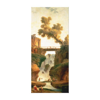 Hubert Robert Landscape with a Waterfall Canvas Print