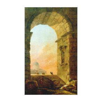Hubert Robert Landscape with an Arch St. Peter's Canvas Print