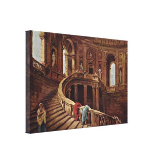 Hubert Robert - Staircase in castle of Caprarola Gallery Wrapped Canvas