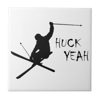 Huck Yeah (Skiing) Ceramic Tile