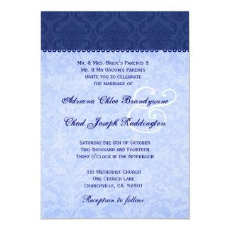 Hues of Blue Damask Wedding E576 13 Cm X 18 Cm Invitation Card