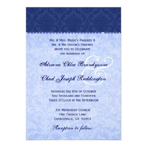 Hues of Blue Damask Wedding E576 Announcements