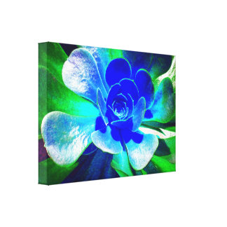 Hues of Blue Fun Floral Stretched Canvas Prints