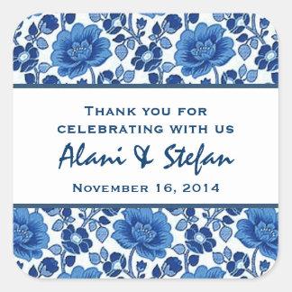 Hues of Blue Vintage Floral Thank You Wedding V08 Square Sticker
