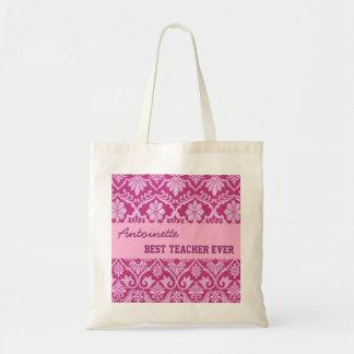 Hues of Pink Best Teacher Ever Custom Name V8 Budget Tote Bag