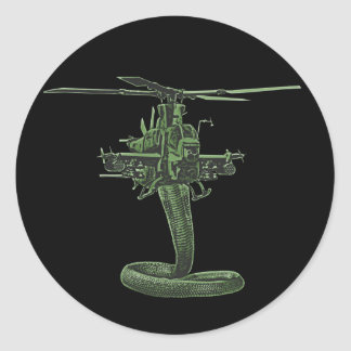 Huey Cobra Helicopter Round Sticker