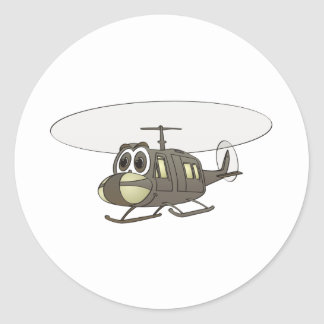 Huey Helicopter Cartoon Classic Round Sticker