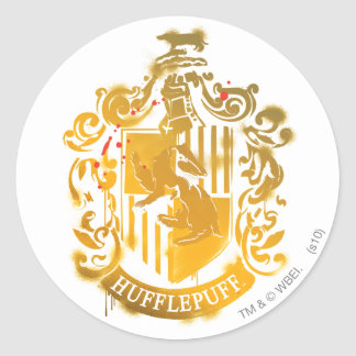 Hufflepuff Crest - Splattered Classic Round Sticker