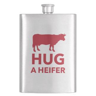 Hug a Heifer Funny Dairy Farm Hip Flask