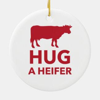 Hug a Heifer Funny Dairy Farm Round Ceramic Decoration