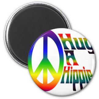 hug a hippie 6 cm round magnet