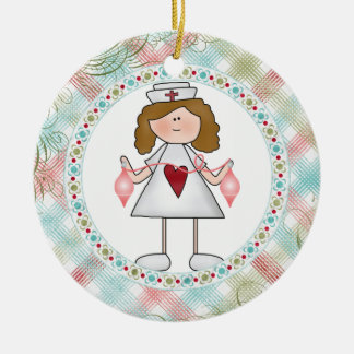 Hug a Nurse Cute Nurse for the Holidays Ceramic Ornament