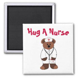 Hug A Nurse Square Magnet