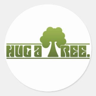Hug a Tree Round Sticker
