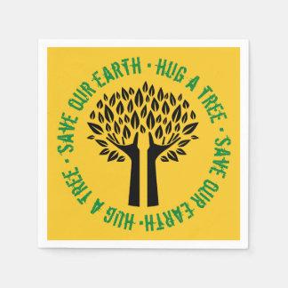 Hug a Tree Save Our Earth Paper Napkin