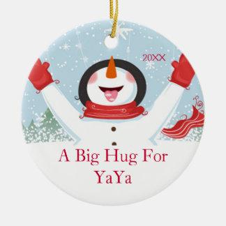 Hug for YaYa Christmas Snowman Ornament