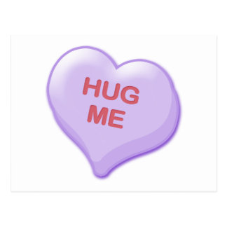 Hug Me Candy Heart Post Cards