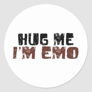 Hug Me I'M Emo Round Stickers