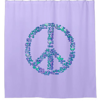HUG ME PEACE symbol + your backgr. & ideas Shower Curtain